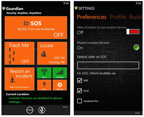 Guardian app is a best security app for Windows phone