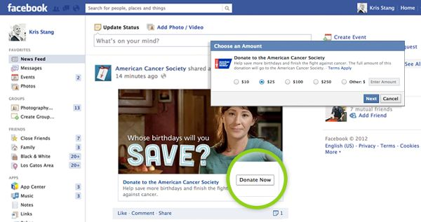 """Facebook Bring You The """"Donate Now"""" Button"""