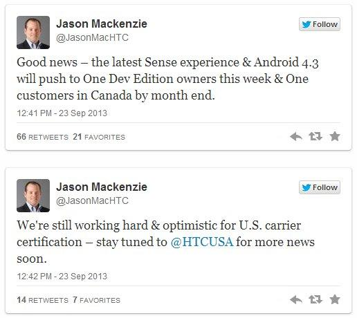 HTC One Jason Mackenzie Android 4.3 Tweet
