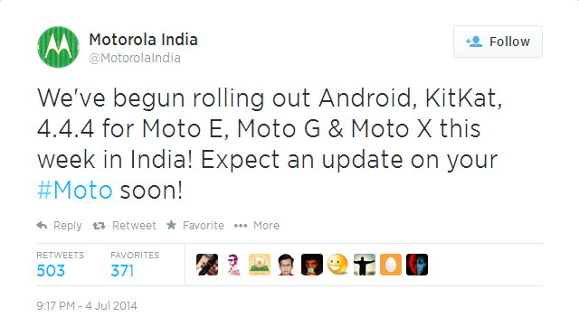 Moto E, Moto G and Moto X Android 4.4.4 KitKat Update Rolling Out In India
